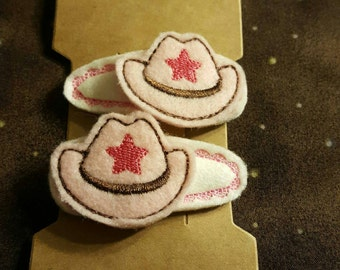 Pink Cowgirl Hat Hair Clips