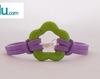 Bracelet antelina violet with green flower