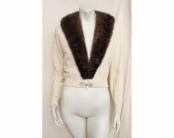 Vintage 1950s Cashmere Sweater with Mink Collar Cardigan Rhinestone Clasp
