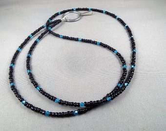 Blue and black ID badge holder lanyard necklace , you choose length, great for holding keys, key cards or anything you can hook to it. cute