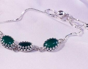 Sterling Silver Green Agate Bolo Bracelet