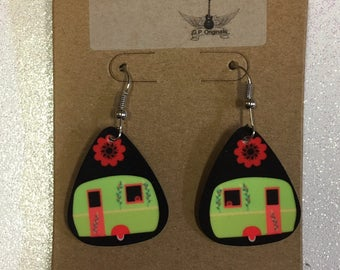 Camper, Glamper,  ,Guitar Pick Earrings,Pick Happiness Jewelry