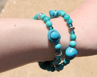 Turquoise nugget/beads double wrap bracelet with silver accents