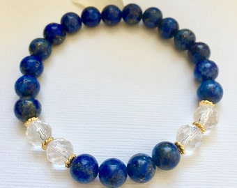 Handcrafted Lapis Lazuli Crystal Quartz Beaded Bracelet, Healing Crystals, Birthday Gift Ideas, Crystal Quartz, Lapis Lazuli Jewelry