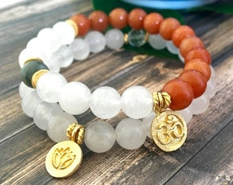 Snow Quartz Orange Rutilated Quartz Yoga Bracelet Stack