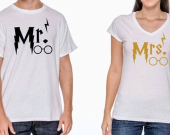 Mr. & Mrs. Harry Potter Themed Couple Wedding Engagement Set of 2 Shirts Tanks