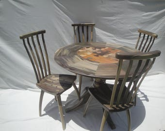 dineing table set, round wood table set, wood table and chairs