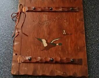 Vintage Wooden Photo Album Flying Ducks Scrap Book