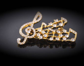 Music Note and Clef Brooch with Austrian Crystals
