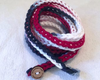 Patriotic Bracelet, 4th of july jewelry, crochet jewelry, red white and blue bracelet, american flag jewelry, Veterans Day, Memorial Day,