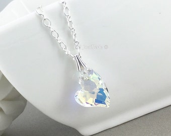 Swarovski Crystal Heart Necklace, Bridesmaid Jewelry, Heart Necklace, Bridesmaids Necklace, Bridesmaid Gift, Gift for Her