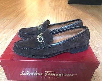 Brown suede Ferragamo slip on loafers