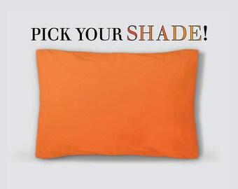 Solid Orange Pillow Sham, Standard Size Sham, King Size Sham, 30x22 38x22, Light Orange Sham, Dark Orange Sham, Solid Orange Bed Pillow