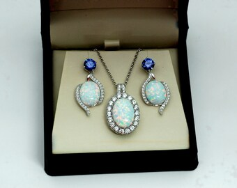 Stunning Fire Opal Necklace/Earrings Set with White Sapphire. .925 Sterling Silver