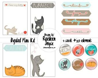 CAT journal card kit, cat clipart, cat scrapbook, instant download