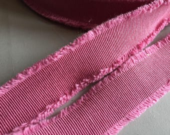 Pink Gros Grain Ribbon with Tattered Edge, Made in Italy, 1 inch wide, Price is per Yard