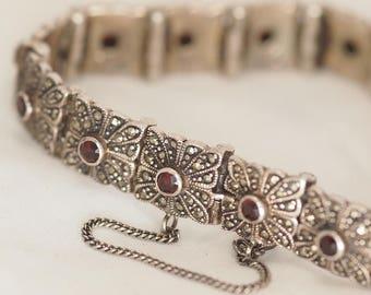 Bracelet Markasit Garnet precious stones vintage silver