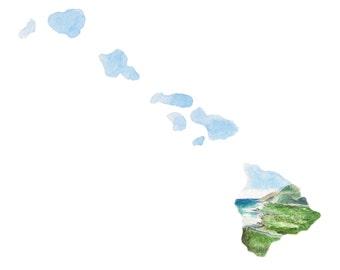 Hawaii PRINT - Hawaii Map - Hawaii Wall Art - US Map Art - Unique Map - Watercolor Map Art - Landscape Print - Wall Art - Hawaii Landscape