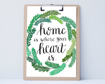 Hand lettered home wall art, print, typography gift, holiday present, bedroom home decor quote, card, mom sister friend dad brother,new home
