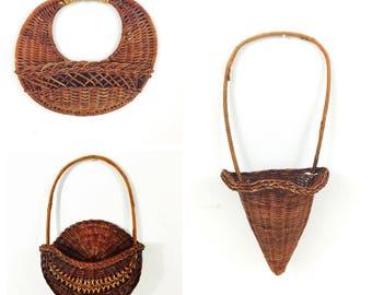 Set of 3 Vintage Boho Wall Hanging Baskets