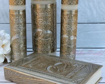 FAST SHIPPING!! Beautiful Bible and Unity Candle Set, Metal Embossed,  Repujado Spanish Bible
