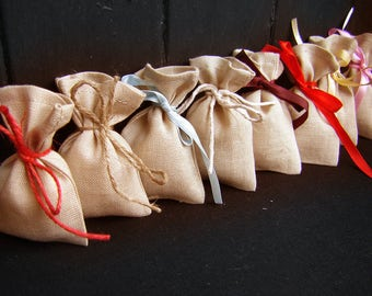 Beige Linen Gift bags - Wedding favor bags - Optional sizes Small Linen Favor Bags-  100% Natural Linen bags
