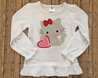 Kitty with Heart Applique Shirt