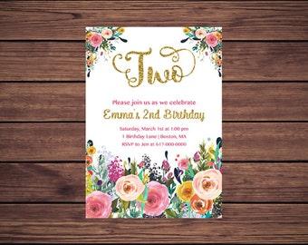 Floral 2nd Birthday Invitation Girl, Any Age Floral Pink Gold Second Birthday Invitation, Girl 1st ONE Birthday Printable JPEG 891