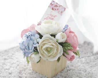 Flower Decoration,Flower Wooden Pot,Wooden Pot Flowers