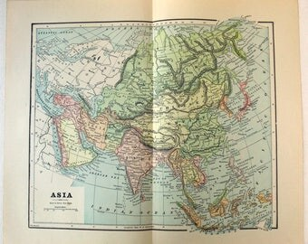 Vintage Original 1891 Map of Asia by Hunt & Eaton