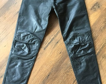 Classic Woman Black Leather Trousers/Pants