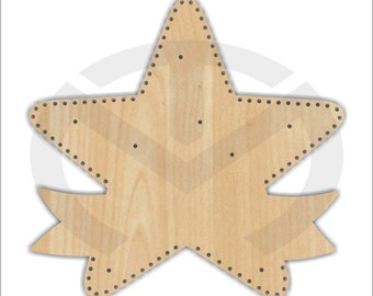 Unfinished Wood Star with Holes for Lights Laser Cutout, Wreath Accent, Door Hanger, Ready to Paint & Personalize, Tree Topper