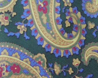 Etro Milano Tie Pure Silk Paisley Pattern Green Vintage Designer Dress Necktie Made In Italy