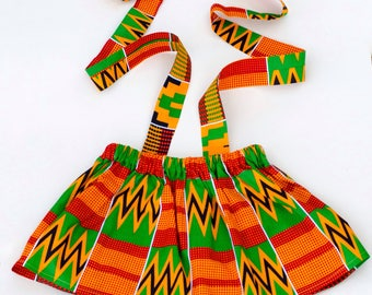 Suspender skirt, skirt, blue skirt, african print skirt, girls skirt, toddler skirt, kente, kente skirt, orange, blue, summer skirt, braces