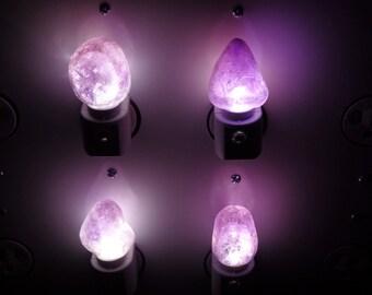 "Amethyst ""Window"" LED Gemstone Night Light//Geode//Crystals// Nite Light"