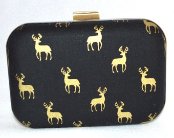 Deer Clutch, Box Clutch w Gold Deer Accent, Black Box Clutch, Gold and Black Clutch, Gold Accesories, Designer Handbag