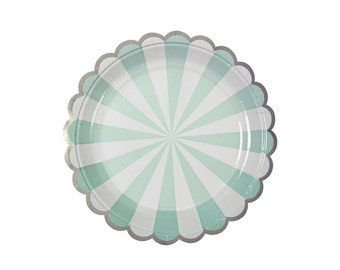 Mint Scallop Plates - disposable paper party plates - fun pastel party tableware