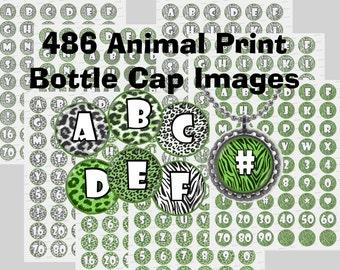 Animal print bottle cap images Alphabet  zebra leopard cheetah bottlecaps Instant Download Digital Scrapbooking Crafts Jewelry 1 inch circle