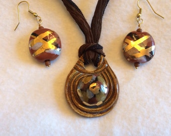 Handmade Ceramic Tan and Gold Necklace and Earring Jewelry Set