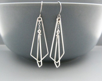 Chevron Earrings - silver geometric earrings inspired by art deco architecture, engineer and math teacher gifts - Interlocking Arrows Small