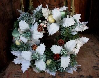 Christmas Wreath, Candle Wreath, Christmas Decor, Vintage Wreath,  Vintage Christmas, Kitsch Christmas, Table Center, Pine Cone Wreath