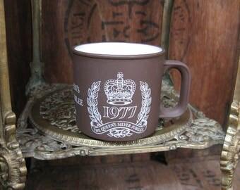 Jubilee Mug, Hornsea Mug, Elizabeth II Jubilee, 1977 Jubilee, Royal Memorabilia, Royal Family, Queen Elizabeth II, Souvenir, Silver Jubilee