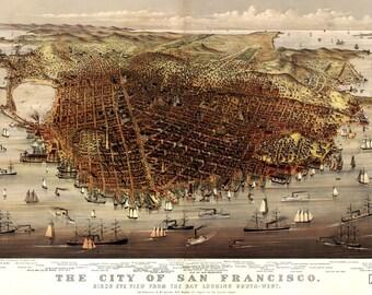 San Francisco Vintage Map Art Print, Downtown San Francisco
