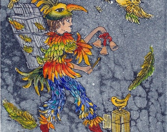 Papageno - the magic flute - bird feather cage - - nature - Opera - picking - decoration housing original etching printmaking miniature etching
