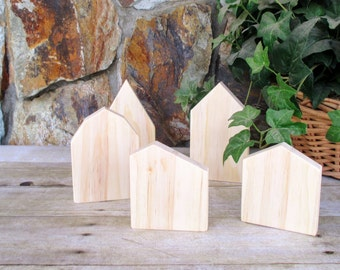 Small wooden houses to paint - Rustic wooden house set of 5 - Miniature wooden village - Rustic home decor - diy - You-paint wooden houses