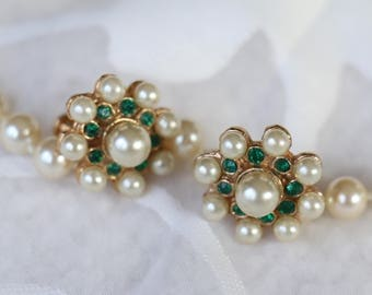 Vintage Faux Pearl and Green Rhinestone Screw Back Earrings