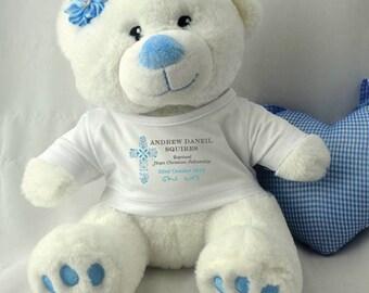 Personalised Blue Baptism/Christening Teddy Bear