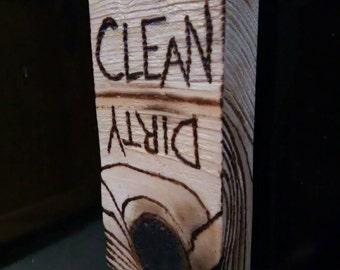 Cedar Wood Clean/Dirty Dishwasher Magnet