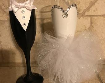 Bridal wine glasses any colors!