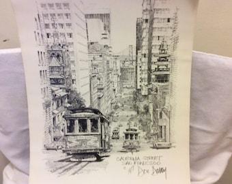 "Vintage 1977 Signed Lithograph Print, Art Print by Don Davey, ""California"" Man Cave, San Francisco Collectible Print"